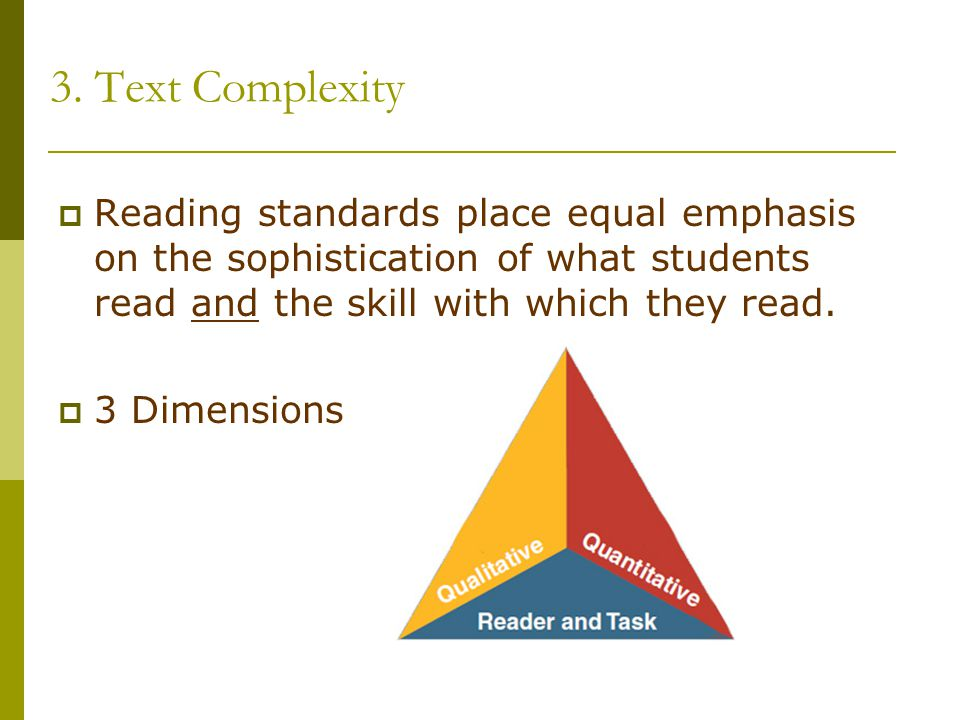 3. Text Complexity  Reading standards place equal emphasis on the sophistication of what students read and the skill with which they read.  3 Dimens