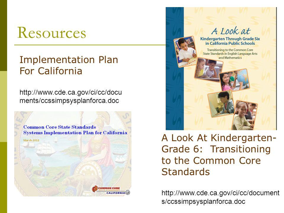 Resources Implementation Plan For California http://www.cde.ca.gov/ci/cc/docu ments/ccssimpsysplanforca.doc A Look At Kindergarten- Grade 6: Transitio