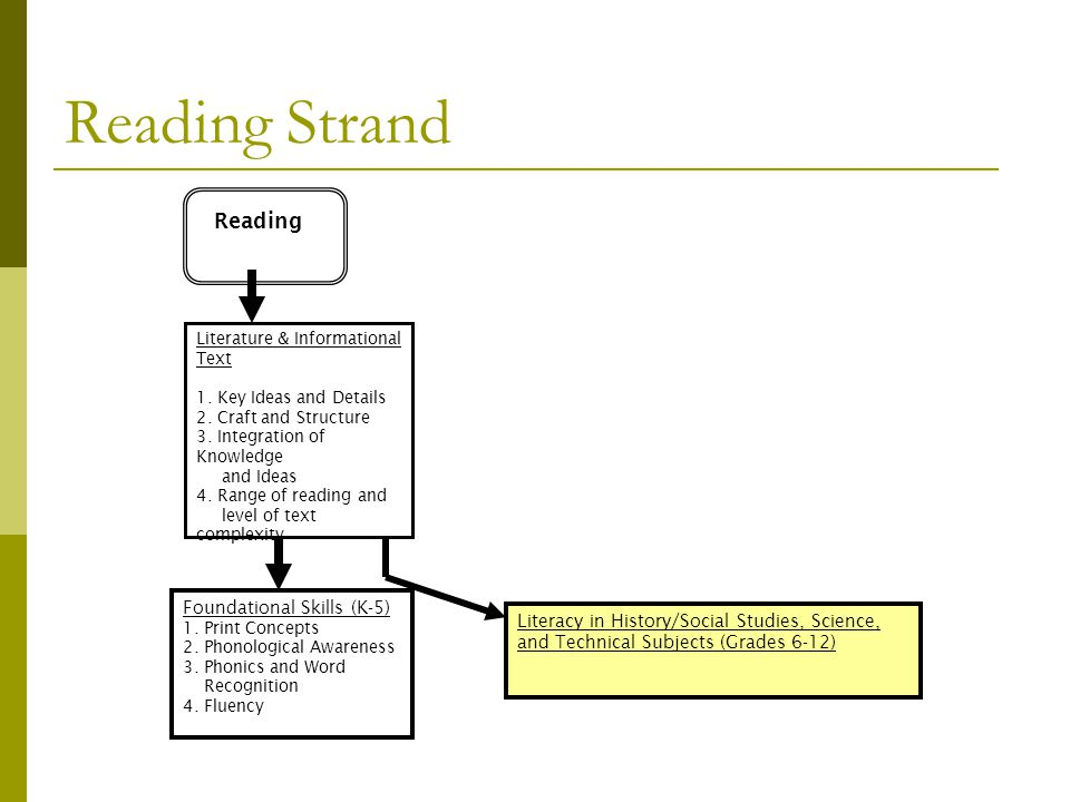 Reading Strand Reading Literature & Informational Text 1. Key Ideas and Details 2. Craft and Structure 3. Integration of Knowledge and Ideas 4. Range
