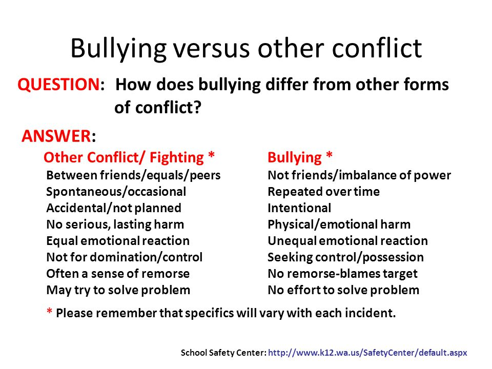 QUESTION: How does bullying differ from other forms of conflict.