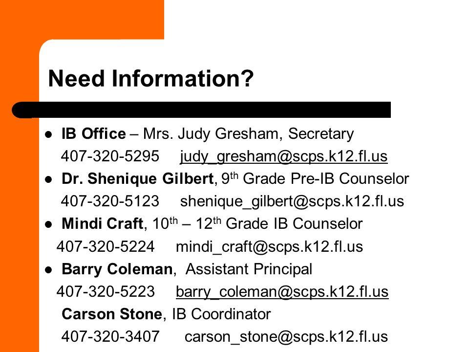Need Information.IB Office – Mrs.