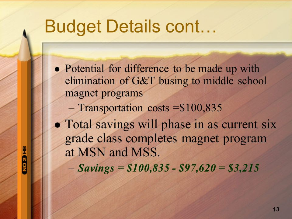 13 Budget Details cont… Potential for difference to be made up with elimination of G&T busing to middle school magnet programs –Transportation costs =$100,835 Total savings will phase in as current six grade class completes magnet program at MSN and MSS.