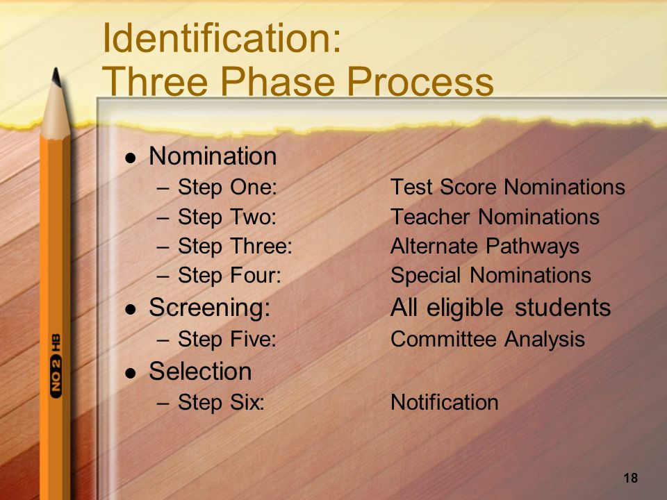 18 Identification: Three Phase Process Nomination –Step One: Test Score Nominations –Step Two:Teacher Nominations –Step Three:Alternate Pathways –Step Four:Special Nominations Screening:All eligible students –Step Five:Committee Analysis Selection –Step Six:Notification