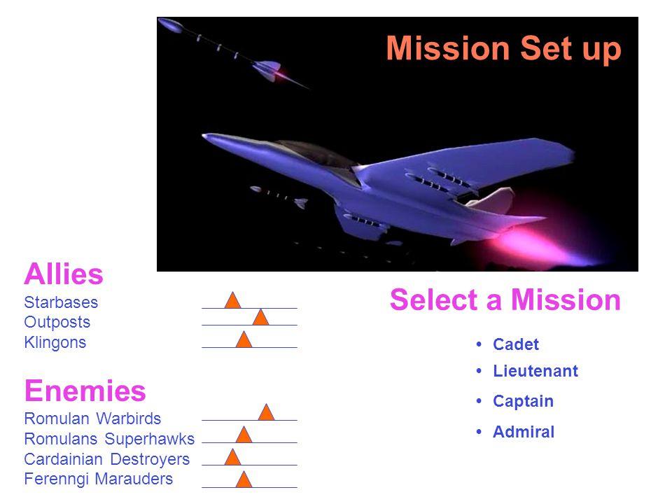 Allies Starbases Outposts Klingons Enemies Romulan Warbirds Romulans Superhawks Cardainian Destroyers Ferenngi Marauders Select a Mission Cadet Lieutenant Captain Admiral Mission Set up