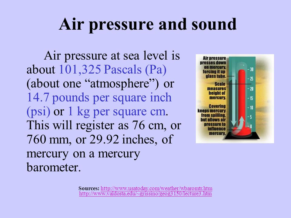 "Air pressure and sound Air pressure at sea level is about 101,325 Pascals (Pa) (about one ""atmosphere"") or 14.7 pounds per square inch (psi) or 1 kg p"