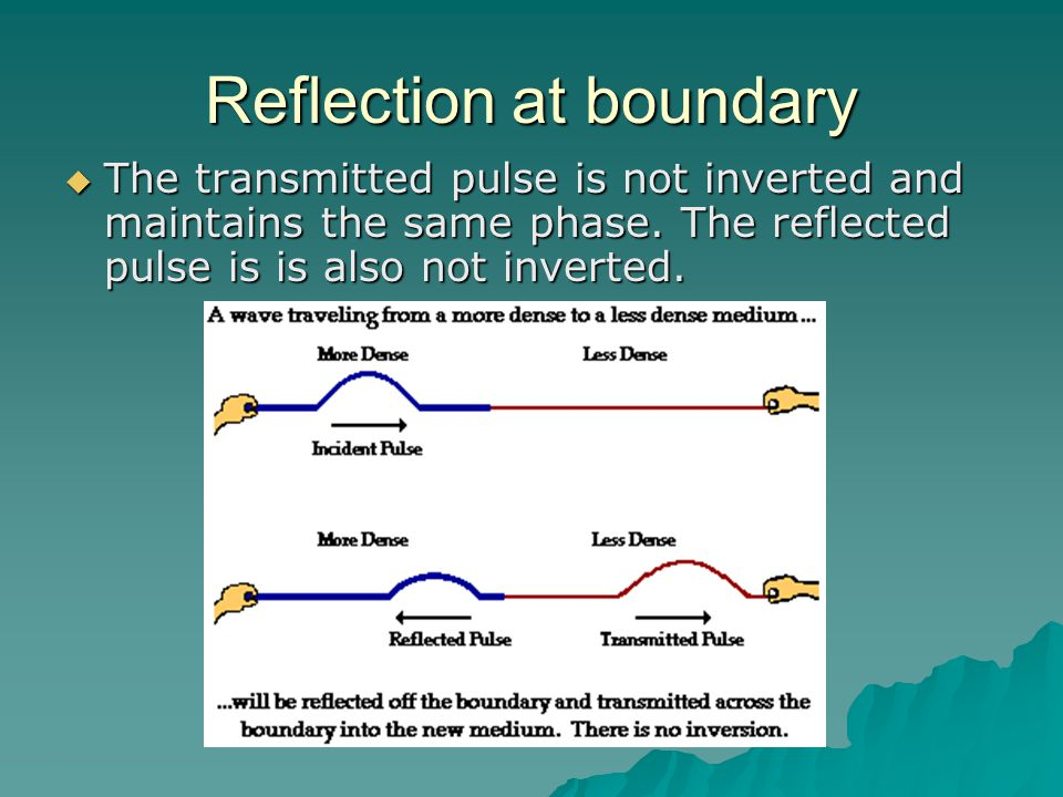 Reflection at boundary  The transmitted pulse is not inverted and maintains the same phase.