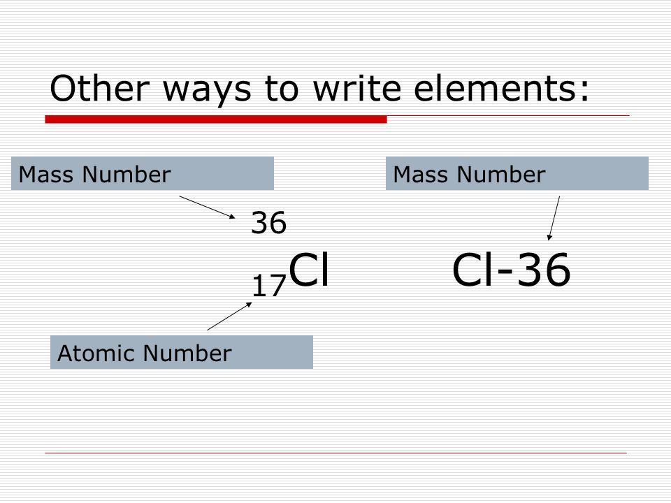 Other ways to write elements: 36 17 ClCl-36 Atomic Number Mass Number