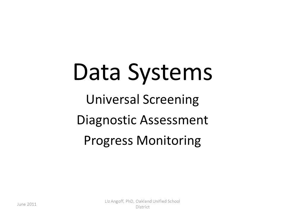Data Systems Universal Screening Diagnostic Assessment Progress Monitoring June 2011 Liz Angoff, PhD, Oakland Unified School District