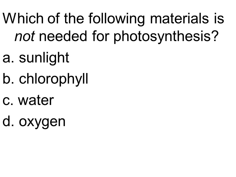 Which of the following materials is not needed for photosynthesis.