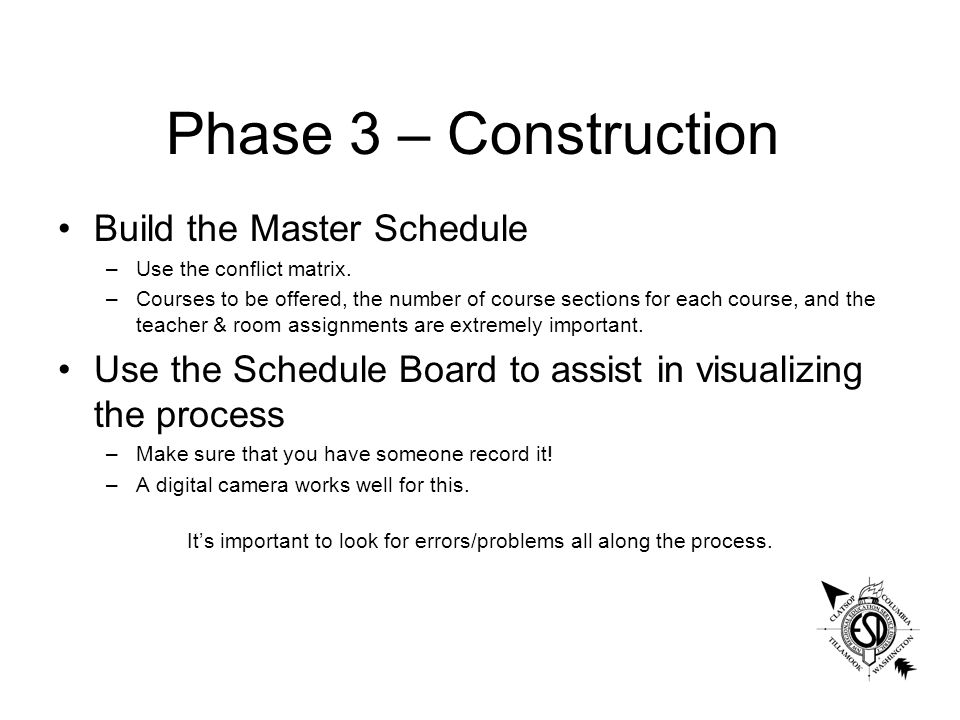Phase 3 – Construction Build the Master Schedule –Use the conflict matrix.
