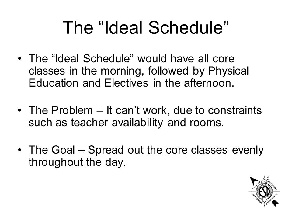 The Ideal Schedule The Ideal Schedule would have all core classes in the morning, followed by Physical Education and Electives in the afternoon.