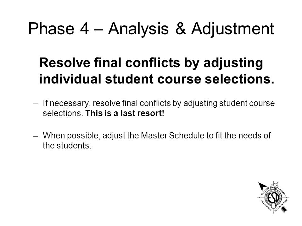 Phase 4 – Analysis & Adjustment Resolve final conflicts by adjusting individual student course selections.