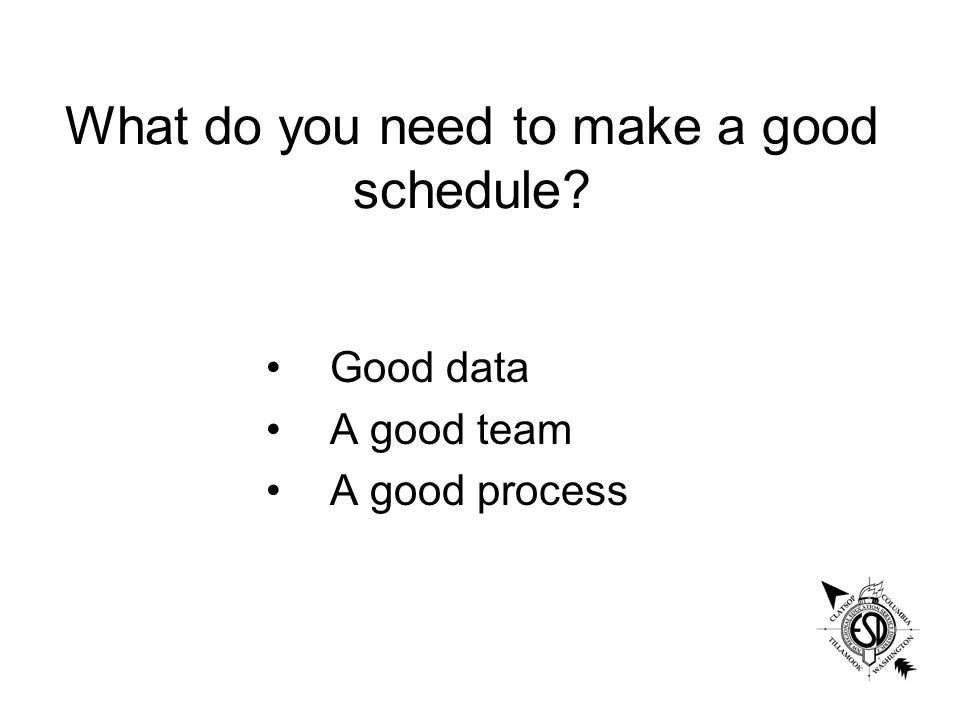 What do you need to make a good schedule Good data A good team A good process