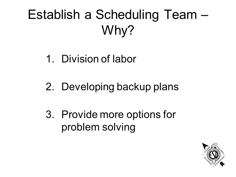 Establish a Scheduling Team – Why.