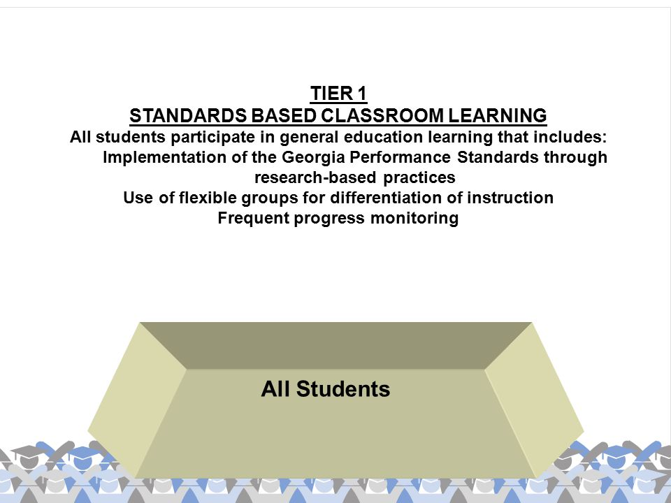 All Students TIER 1 STANDARDS BASED CLASSROOM LEARNING All students participate in general education learning that includes: Implementation of the Geo