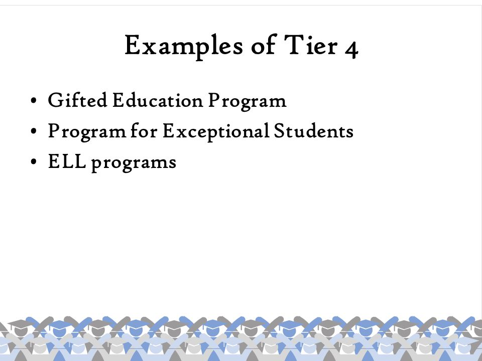 Examples of Tier 4 Gifted Education Program Program for Exceptional Students ELL programs