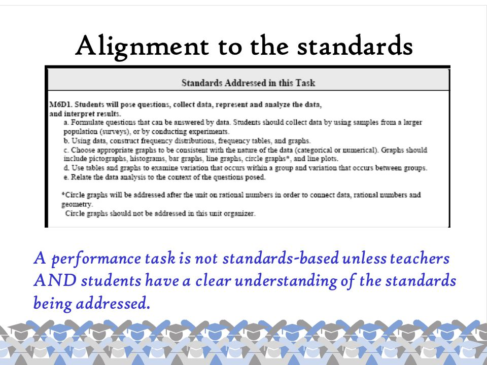 Alignment to the standards A performance task is not standards-based unless teachers AND students have a clear understanding of the standards being ad