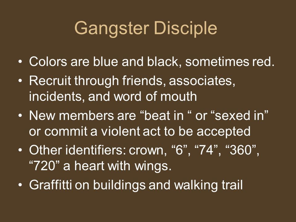 Latin Kings (People Nation) Colors: Black and Gold Allied with Vicelords Well structured and organized All for one mentality Violations may result in physical assault or death 5 point star and 5 point crown Three point crown
