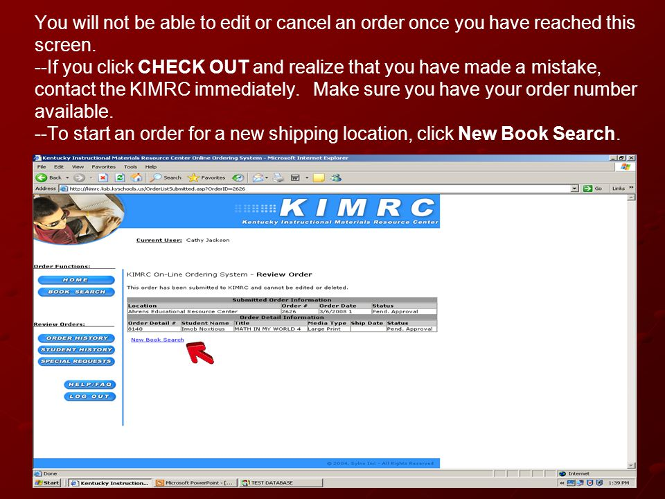 You will not be able to edit or cancel an order once you have reached this screen.