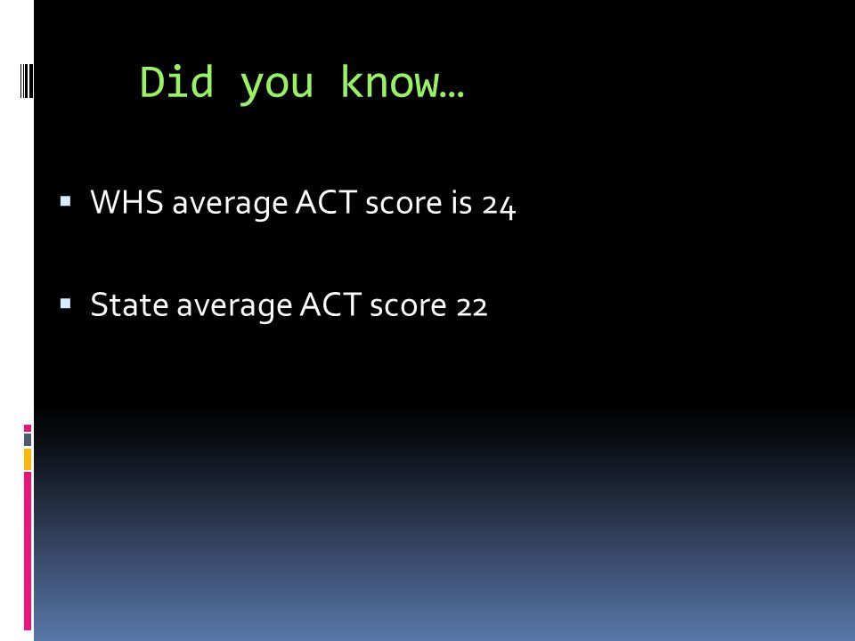 Did you know…  WHS average ACT score is 24  State average ACT score 22