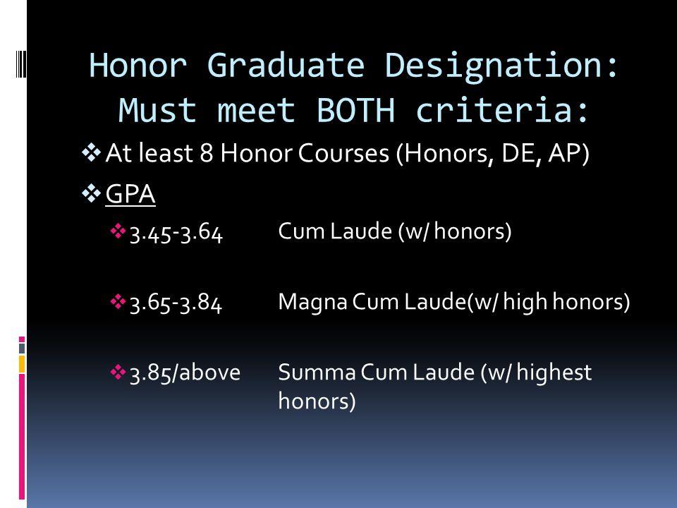 Honor Graduate Designation: Must meet BOTH criteria:  At least 8 Honor Courses (Honors, DE, AP)  GPA  3.45-3.64Cum Laude (w/ honors)  3.65-3.84Magna Cum Laude(w/ high honors)  3.85/aboveSumma Cum Laude (w/ highest honors)