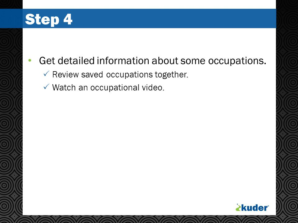 Step 4 Get detailed information about some occupations.