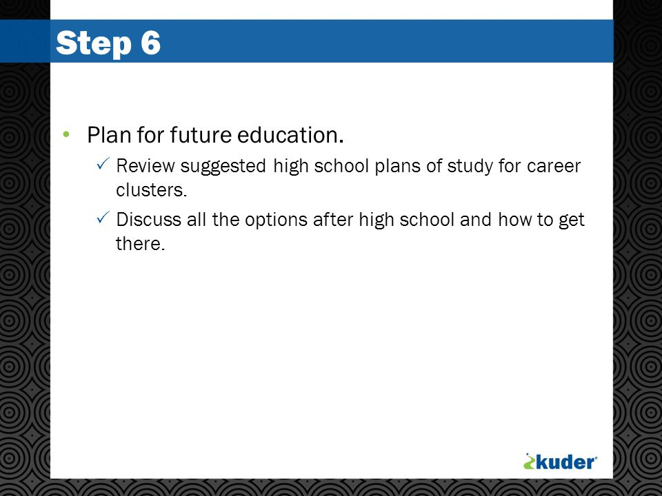 Step 6 Plan for future education.