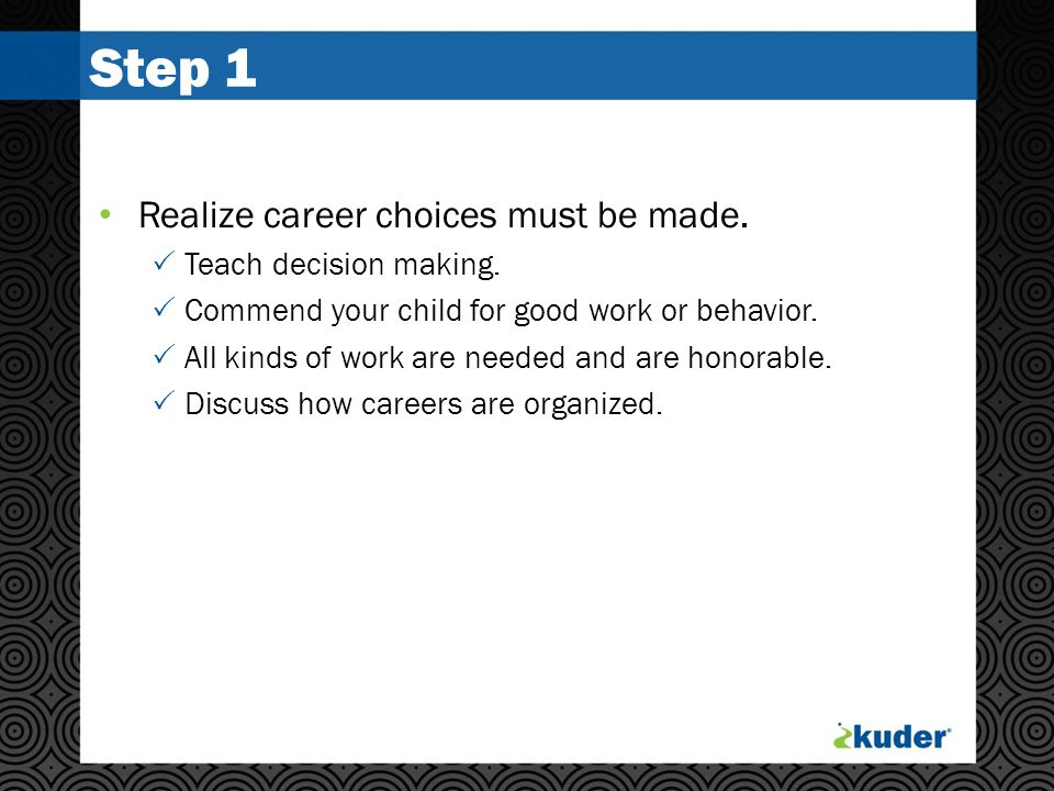 Step 1 Realize career choices must be made.  Teach decision making.