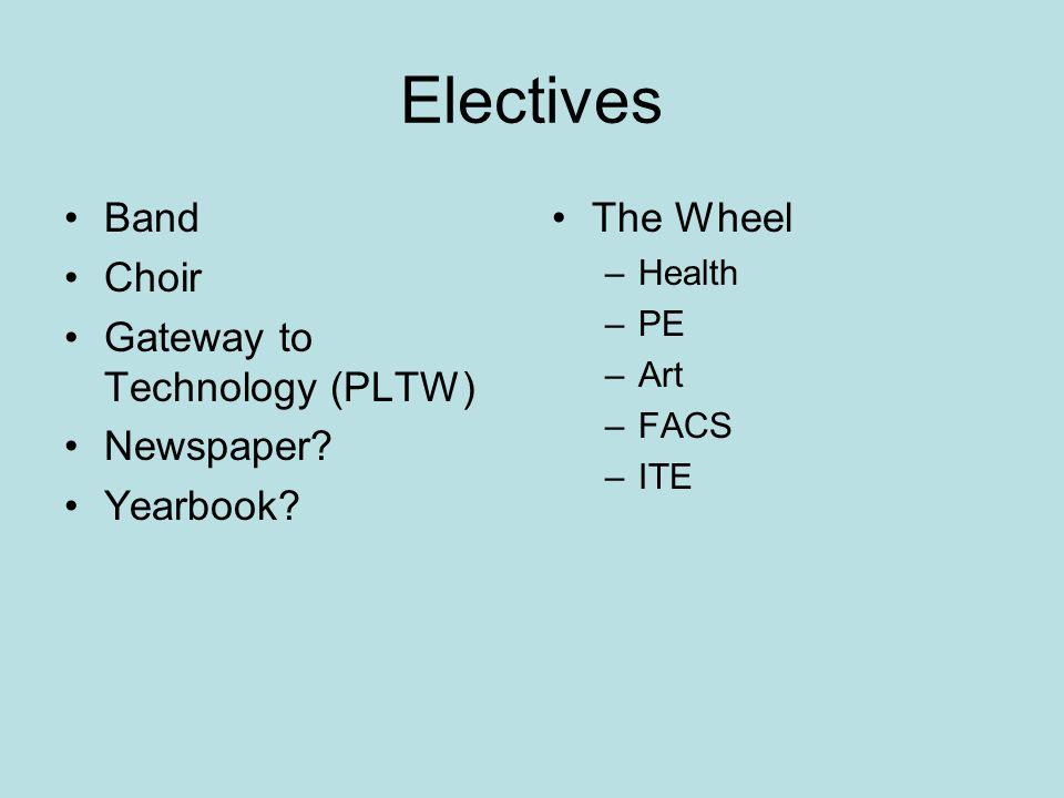 Electives Band Choir Gateway to Technology (PLTW) Newspaper.