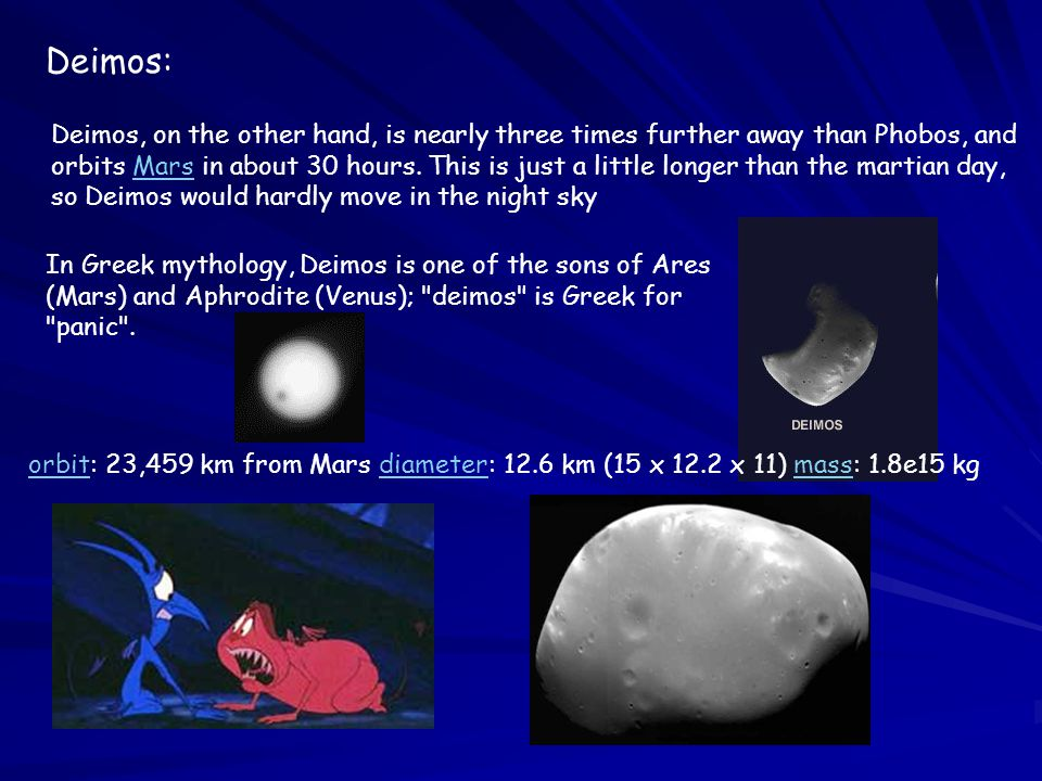 Deimos: Deimos, on the other hand, is nearly three times further away than Phobos, and orbits Mars in about 30 hours.