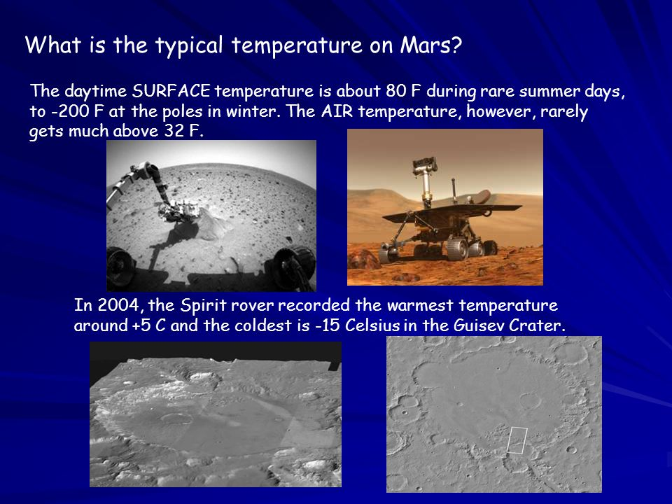 What is the typical temperature on Mars.