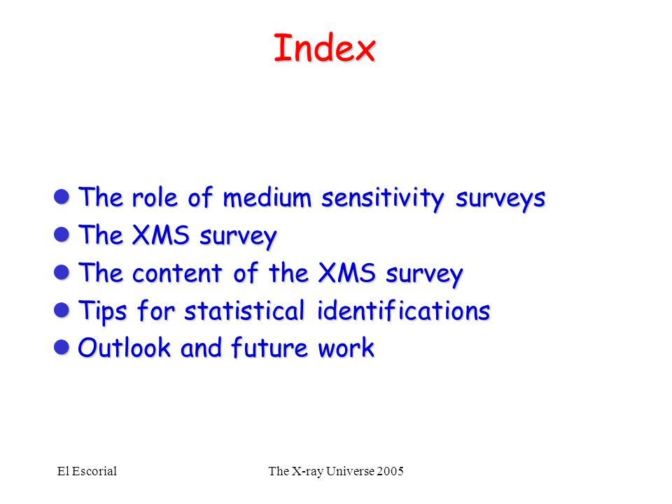 El EscorialThe X-ray Universe 2005 Index lThe role of medium sensitivity surveys lThe XMS survey lThe content of the XMS survey lTips for statistical