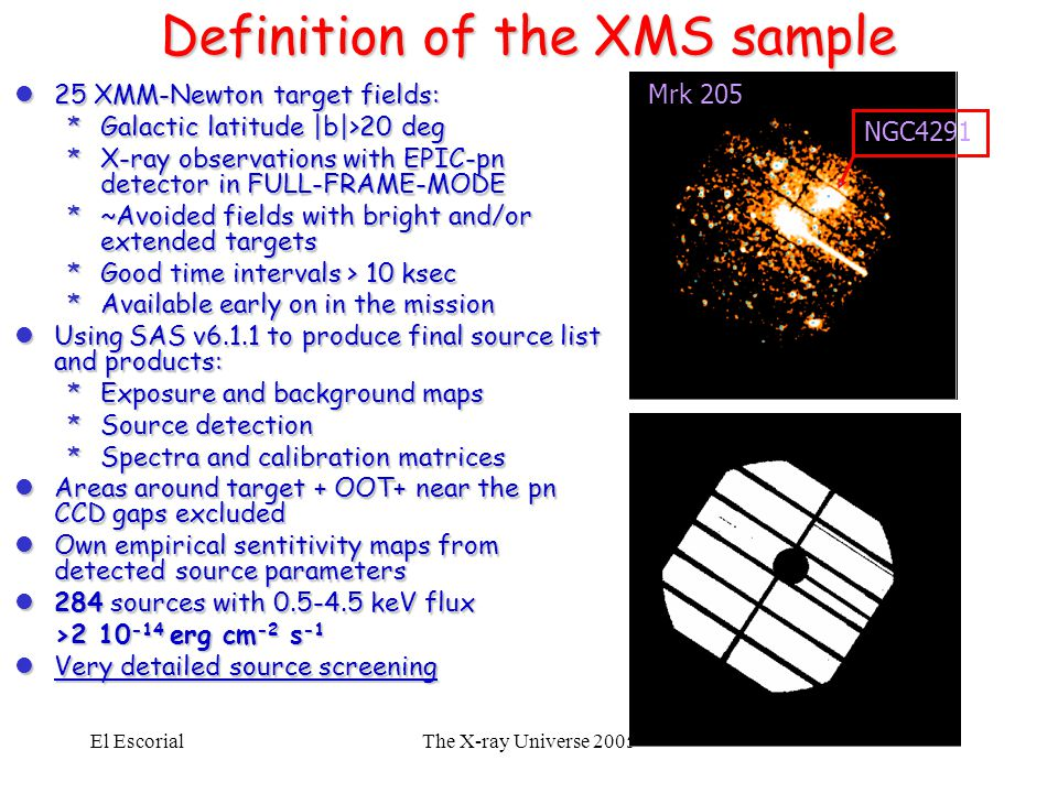 El EscorialThe X-ray Universe 2005 Definition of the XMS sample l25 XMM-Newton target fields: *Galactic latitude |b|>20 deg *X-ray observations with E
