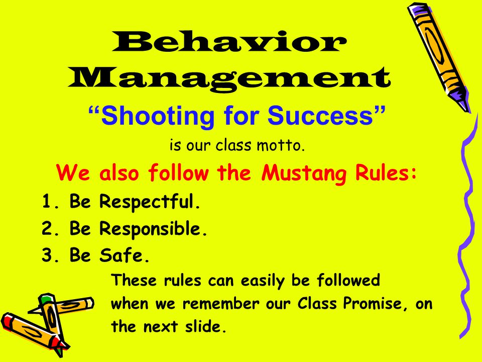 Behavior Management Shooting for Success is our class motto.