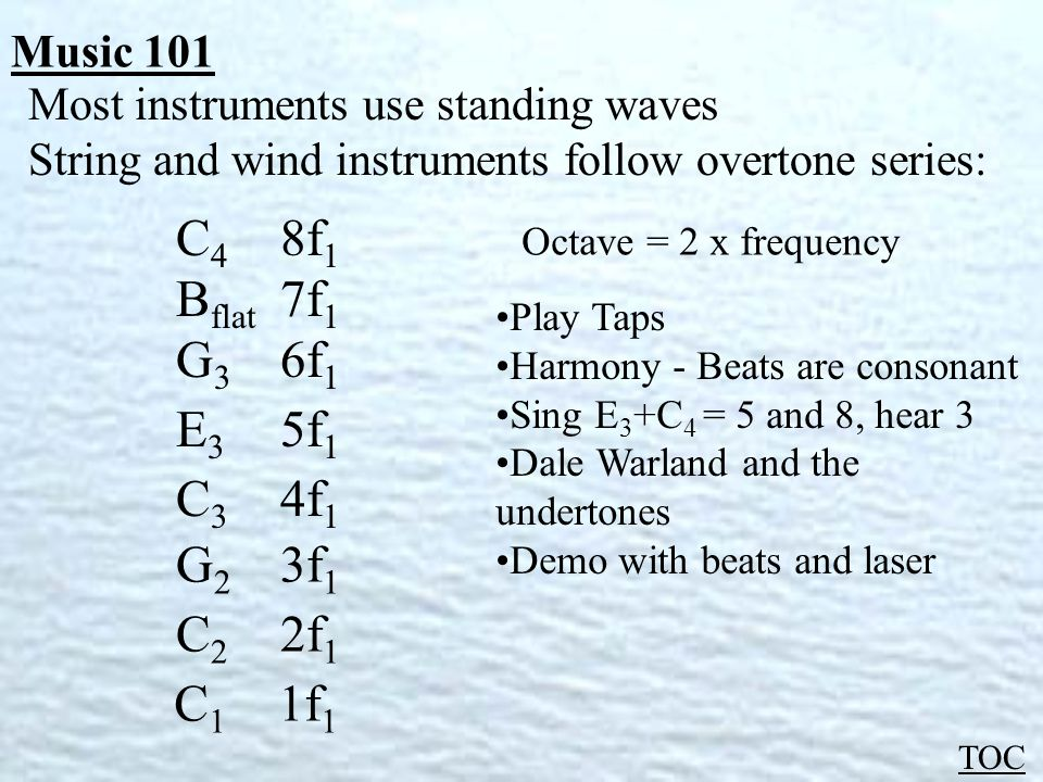 Music 101 TOC Most instruments use standing waves String and wind instruments follow overtone series: C 1 1f 1 C 2 2f 1 G 2 3f 1 C 3 4f 1 E 3 5f 1 G 3 6f 1 B flat 7f 1 C 4 8f 1 Octave = 2 x frequency Play Taps Harmony - Beats are consonant Sing E 3 +C 4 = 5 and 8, hear 3 Dale Warland and the undertones Demo with beats and laser