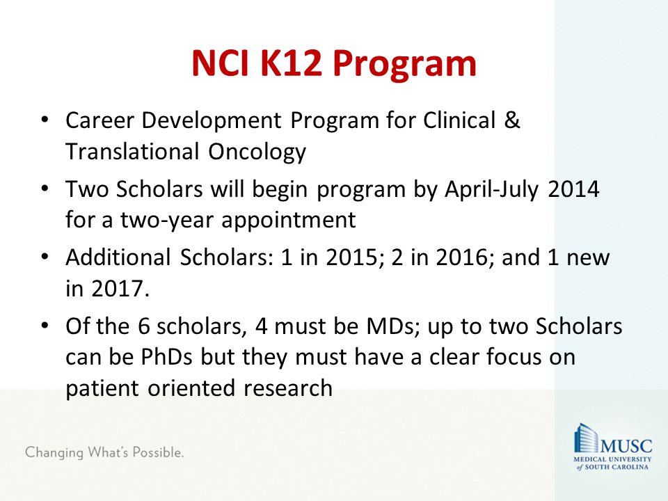 NCI K12 Program Career Development Program for Clinical & Translational Oncology Two Scholars will begin program by April-July 2014 for a two-year appointment Additional Scholars: 1 in 2015; 2 in 2016; and 1 new in 2017.