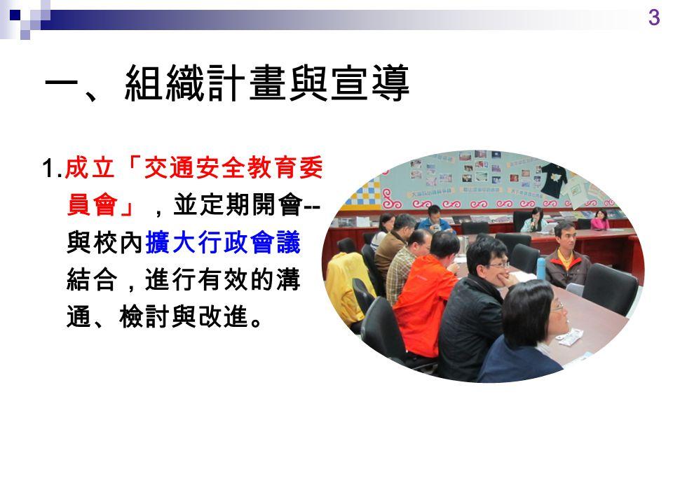 一、組織計畫與宣導 1. 成立「交通安全教育委 員會」,並定期開會 -- 與校內擴大行政會議 結合,進行有效的溝 通、檢討與改進。 3