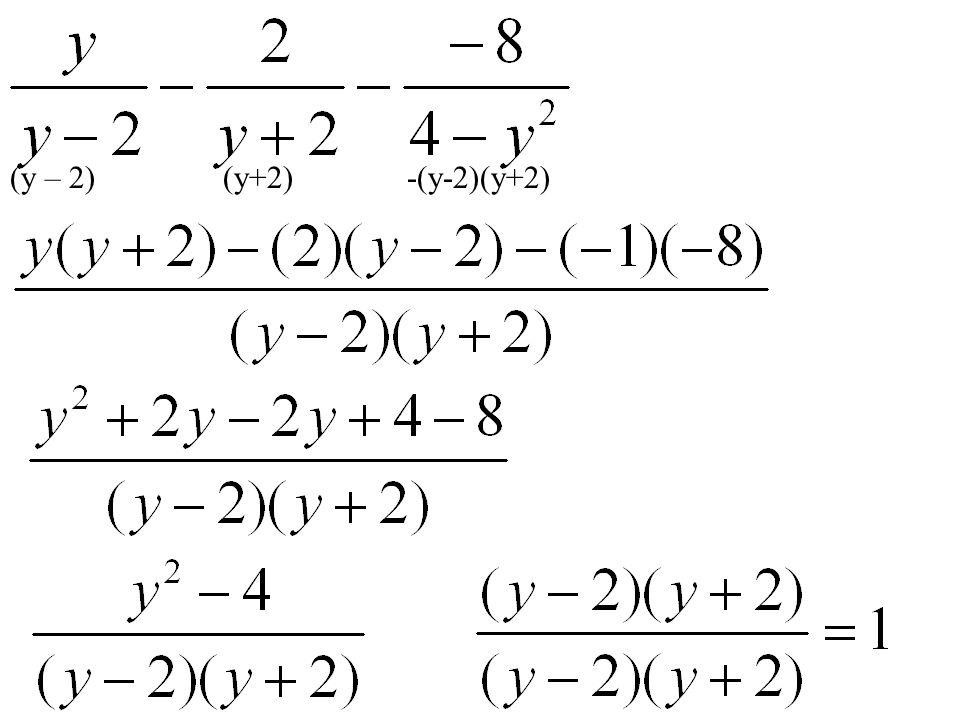 (y – 2) (y+2) -(y-2)(y+2)
