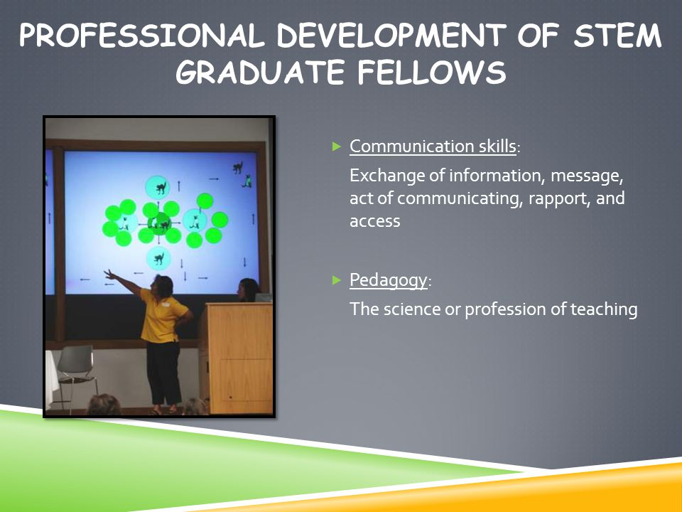 PROFESSIONAL DEVELOPMENT OF STEM GRADUATE FELLOWS  Communication skills: Exchange of information, message, act of communicating, rapport, and access