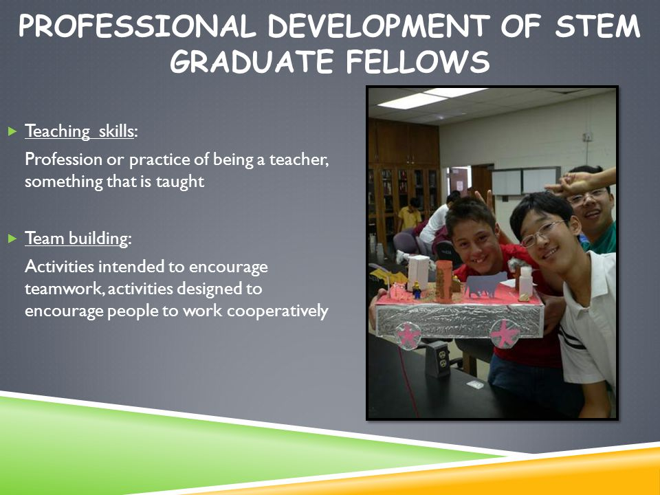 PROFESSIONAL DEVELOPMENT OF STEM GRADUATE FELLOWS  Teaching skills: Profession or practice of being a teacher, something that is taught  Team building: Activities intended to encourage teamwork, activities designed to encourage people to work cooperatively