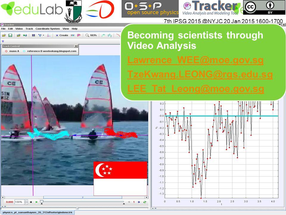 7th IPSG 2015 @NYJC 20 Jan 2015 1600-1700 Becoming scientists through Video Analysis Lawrence_WEE@moe.gov.sg TzeKwang.LEONG@rgs.edu.sg LEE_Tat_Leong@m