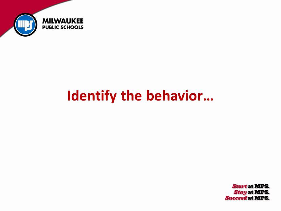 Identify the behavior…