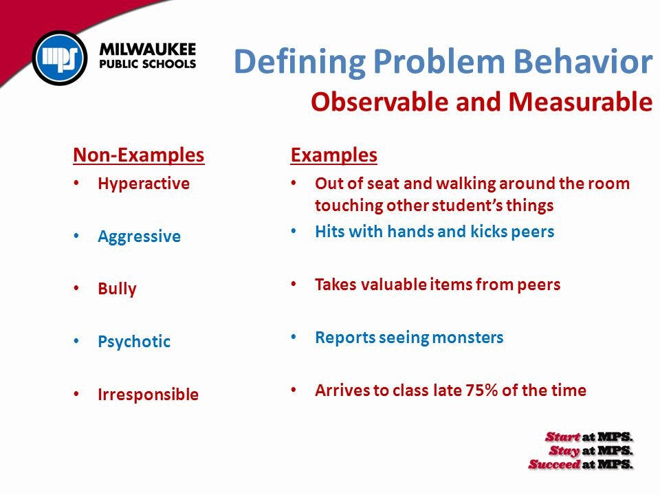 Defining Problem Behavior Observable and Measurable Non-Examples Hyperactive Aggressive Bully Psychotic Irresponsible Examples Out of seat and walking