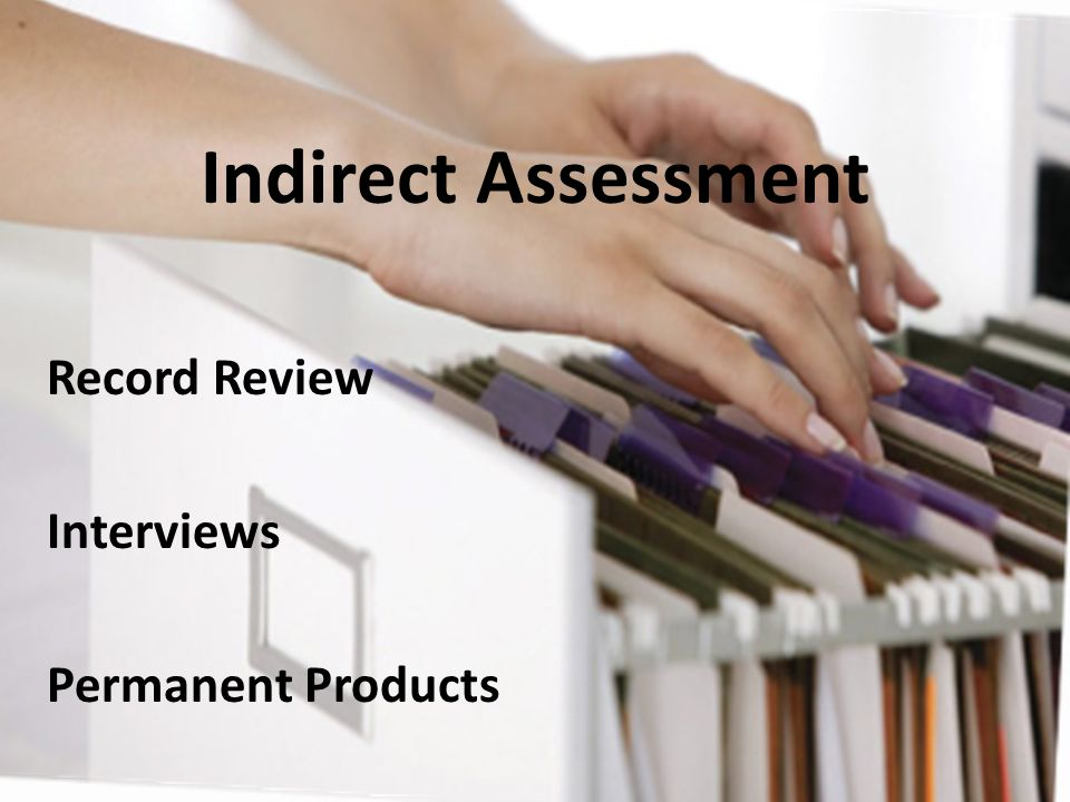Indirect Assessment Record Review Interviews Permanent Products