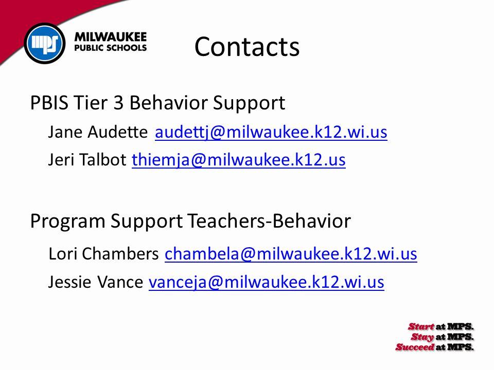 Contacts PBIS Tier 3 Behavior Support Jane Audette audettj@milwaukee.k12.wi.usaudettj@milwaukee.k12.wi.us Jeri Talbot thiemja@milwaukee.k12.usthiemja@milwaukee.k12.us Program Support Teachers-Behavior Lori Chambers chambela@milwaukee.k12.wi.uschambela@milwaukee.k12.wi.us Jessie Vance vanceja@milwaukee.k12.wi.usvanceja@milwaukee.k12.wi.us