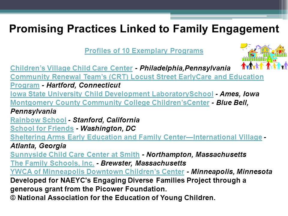 Promising Practices Linked to Family Engagement Profiles of 10 Exemplary Programs Children's Village Child Care CenterChildren's Village Child Care Center - Philadelphia,Pennsylvania Community Renewal Team's (CRT) Locust Street EarlyCare and Education ProgramCommunity Renewal Team's (CRT) Locust Street EarlyCare and Education Program - Hartford, Connecticut Iowa State University Child Development LaboratorySchoolIowa State University Child Development LaboratorySchool - Ames, Iowa Montgomery County Community College Children'sCenterMontgomery County Community College Children'sCenter - Blue Bell, Pennsylvania Rainbow SchoolRainbow School - Stanford, California School for FriendsSchool for Friends - Washington, DC Sheltering Arms Early Education and Family Center—International VillageSheltering Arms Early Education and Family Center—International Village - Atlanta, Georgia Sunnyside Child Care Center at SmithSunnyside Child Care Center at Smith - Northampton, Massachusetts The Family Schools, Inc.The Family Schools, Inc.