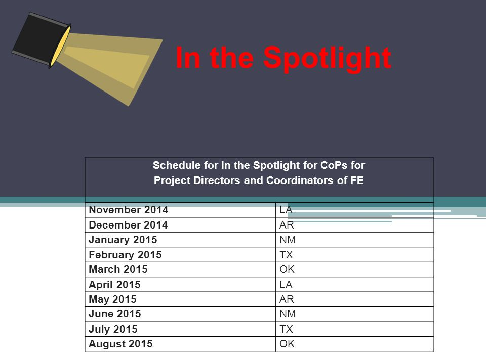 In the Spotlight Schedule for In the Spotlight for CoPs for Project Directors and Coordinators of FE November 2014LA December 2014AR January 2015NM February 2015TX March 2015OK April 2015LA May 2015AR June 2015NM July 2015TX August 2015OK
