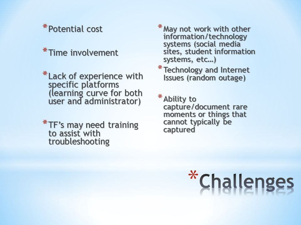 * Potential cost * Time involvement * Lack of experience with specific platforms (learning curve for both user and administrator) * TF's may need training to assist with troubleshooting * May not work with other information/technology systems (social media sites, student information systems, etc…) * Technology and Internet Issues (random outage) * Ability to capture/document rare moments or things that cannot typically be captured