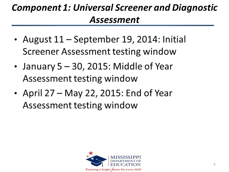 Component 1: Universal Screener and Diagnostic Assessment August 11 – September 19, 2014: Initial Screener Assessment testing window January 5 – 30, 2015: Middle of Year Assessment testing window April 27 – May 22, 2015: End of Year Assessment testing window 4