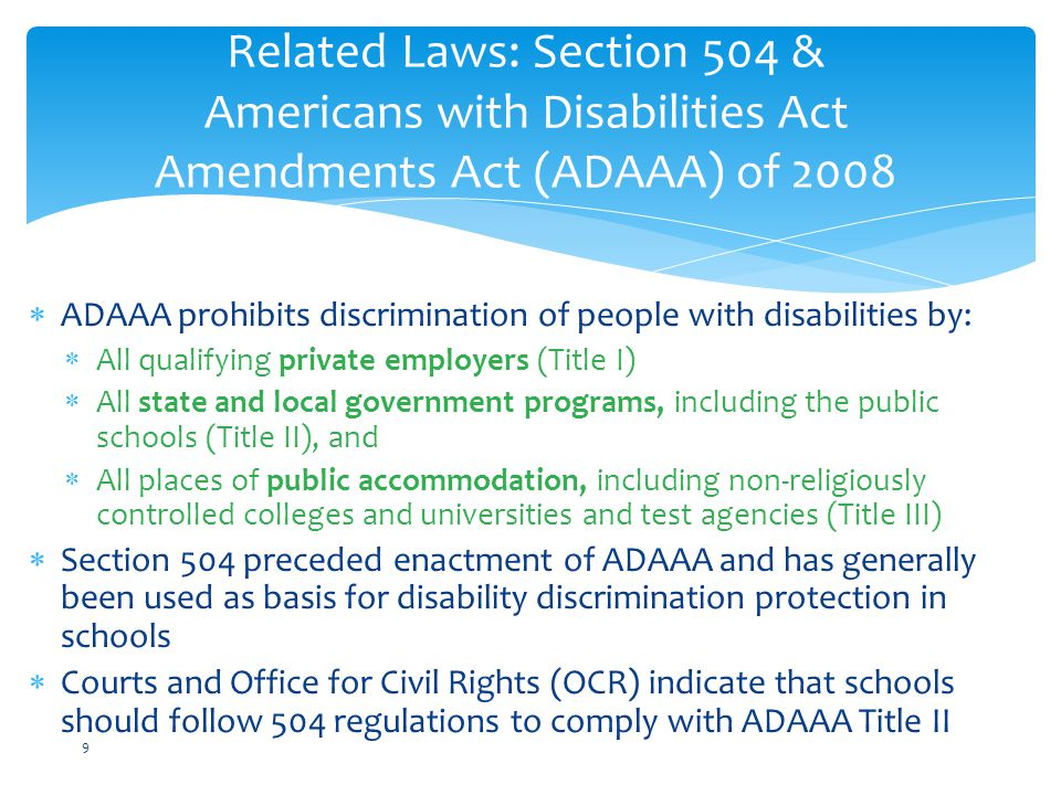 Districts may not retaliate against individuals for:  asserting rights under 504/Title II  opposing disability discrimination  participating in a complaint process or hearing No Retaliation 40